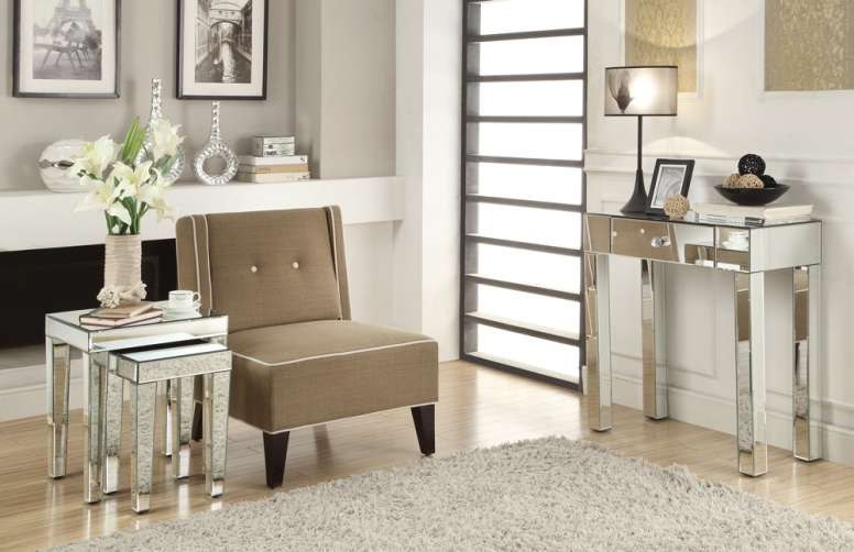 Bring a touch of glitz and glamour from the art deco era to your home with the Reflections Collection. This opulent collection featuring mirrored accent tables, benches and stools combines function and style for a luxurious accent in any space.
