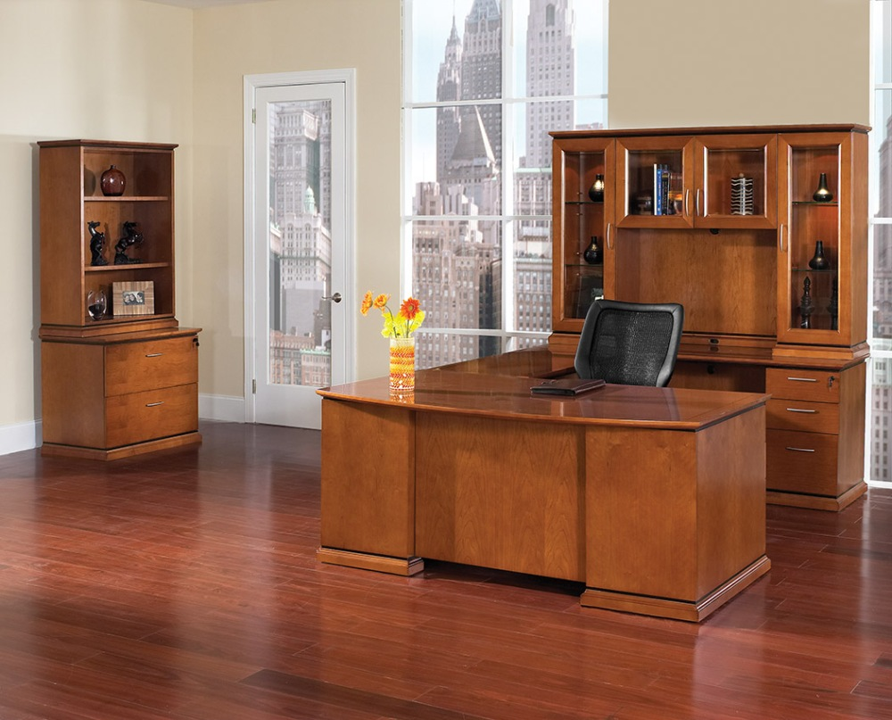 The perfect blend of classic, traditional style with up-to-date contemporary style, a transitional style desk is a top choice for the executive office.