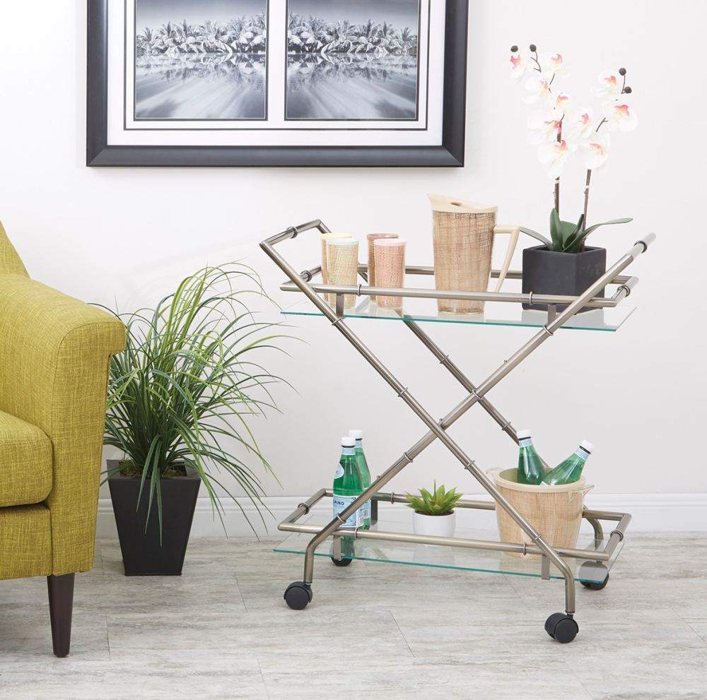 Dreaming of a tropical vacation, but can't get away just yet? Bring the tropical holiday to you with the with the OSP Designs® Lanai serving cart.