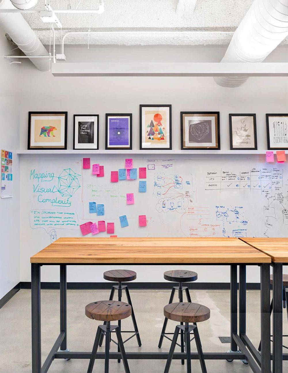 A meeting space with dry erase board walls make it easy for brainstorming, coaching, and learning sessions with employees.