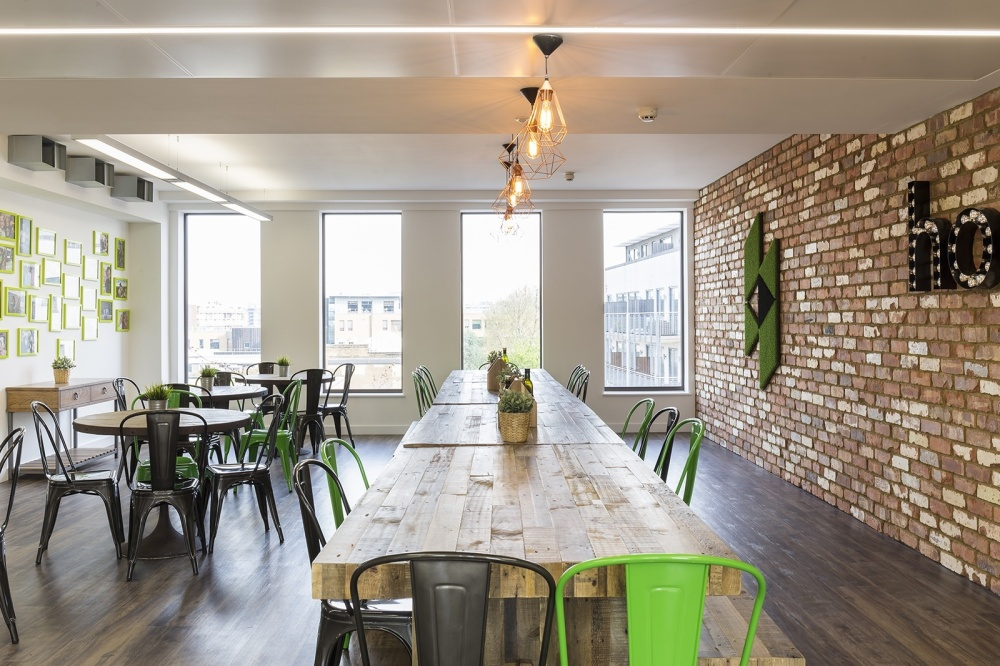 The staff communal area at Houzz's London office gives employees a space where they can step away from their work, take a break and unwind.
