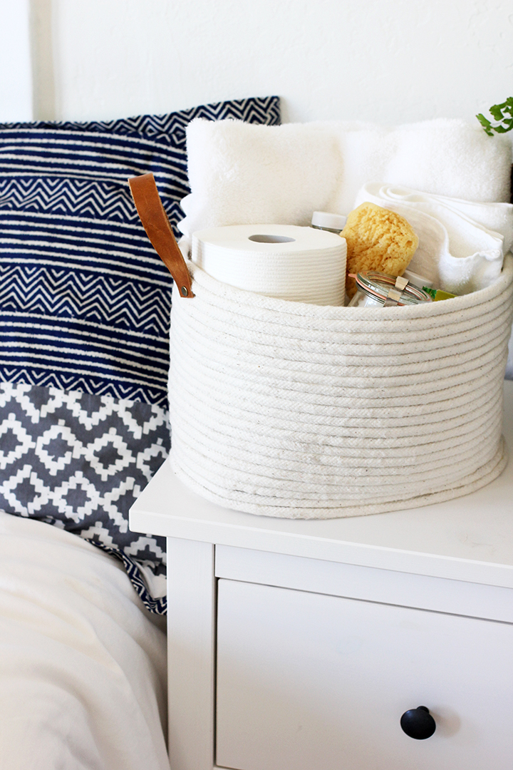 Make things a little less stressful this holiday season by having a basket filled with clean towels and toiletries in the guest room or guest bathroom.