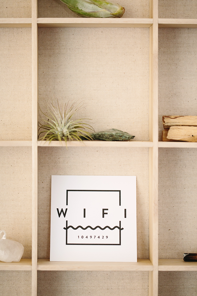 Make it easy for your overnight guests to stay connected while away from home by providing a card or message board with your WiFi password in the guest room.