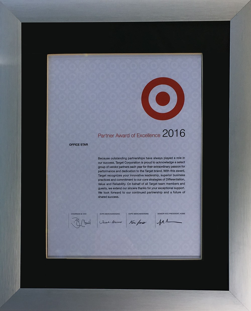 Office Star Products receives the Partner Award of Excellence 2016 from Target Corporation.