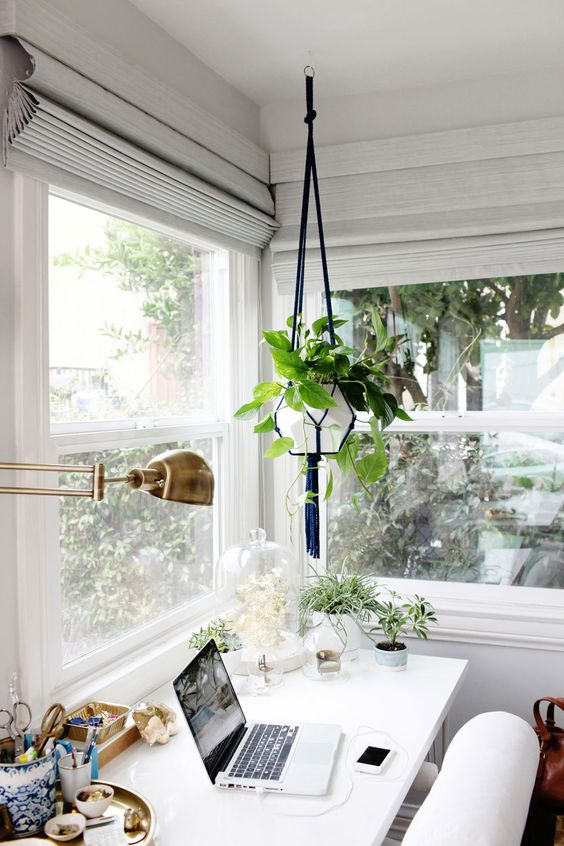 Placing your desk near a light filled window is one way to infuse biophilic design into your home office space.