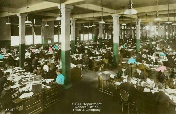 White collar factories - open office design dominated office spaces for much of the 20th century via @officestarprod