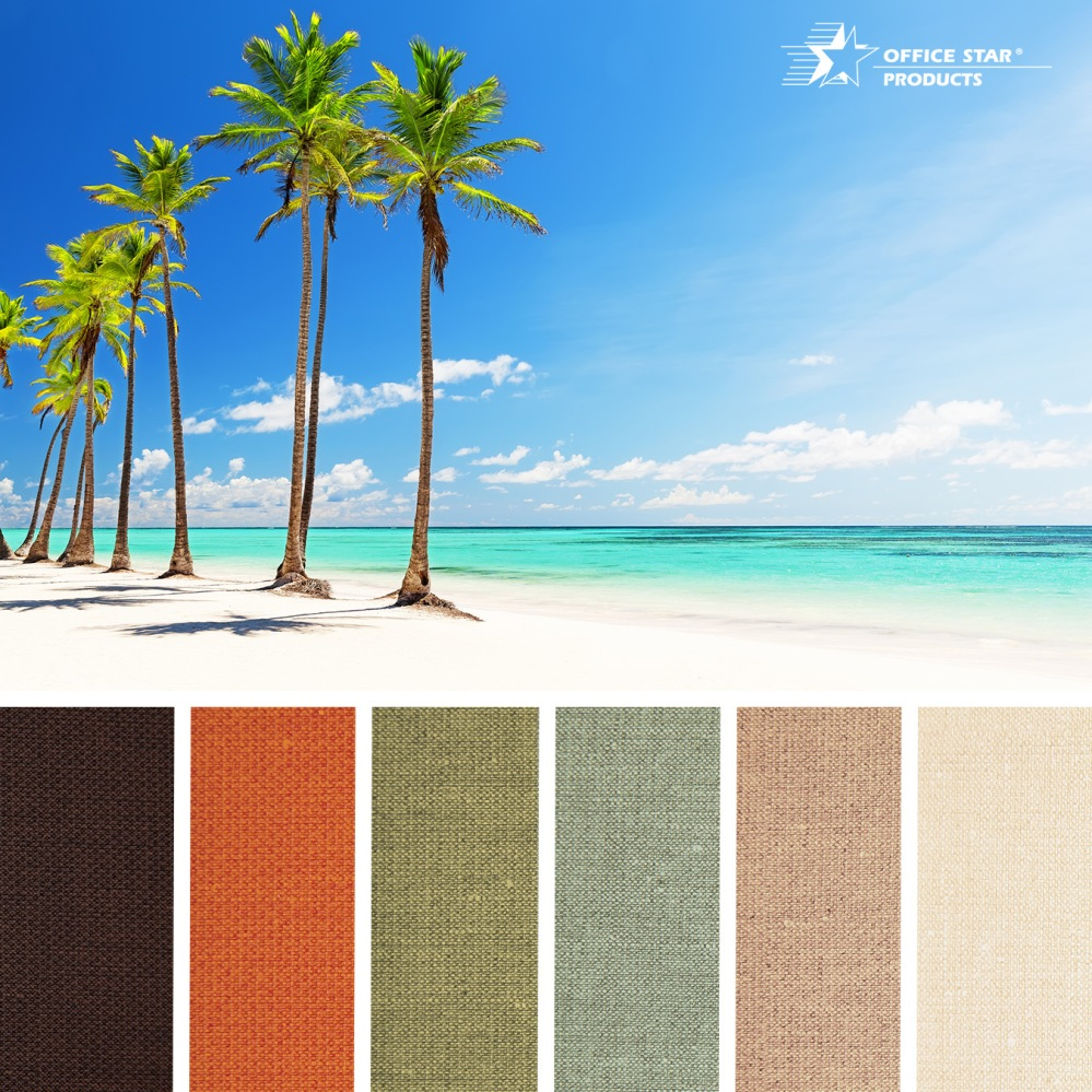 Take inspiration from the Florida Keys with our 100% recycled Key Largo fabric in a range of tropical inspired color to brighten up the office. @officestarprod