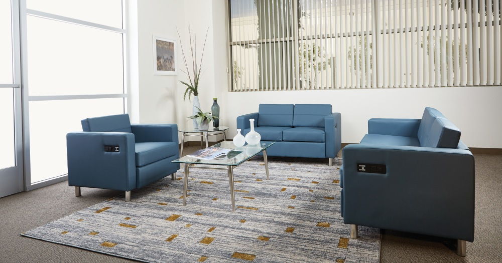 Infusing technology into soft seating areas is a must have in the modern office space.